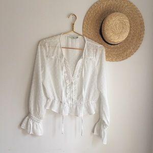 Urban Outfitters LUSH white balloon sleeve blouse